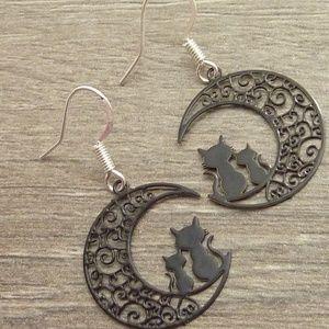 Jewelry - Halloween Cat Earrings Filigree